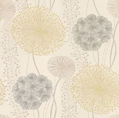Gardenia (60404) - Harlequin Wallpapers - Large scale seed heads in a subtle design, in soft elegant colour combinations. Shown here in the grey and green on off-white. Available in other colours. Please request sample for true colour match. Wide width.