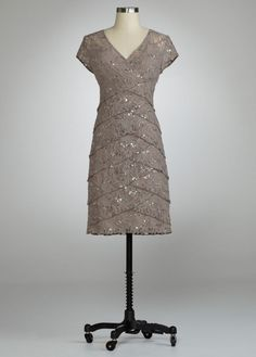 Cap Sleeve Lace Dress with All Over Sequin Style S256930..for the sister in laws wedding
