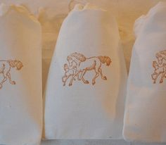 10 Horse with Foal Organic Muslin Cotton Favor by JennifersCookies, $12.00
