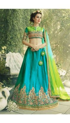 Blue Silk Crepe Lehenga With Silk Choli - DMV11129