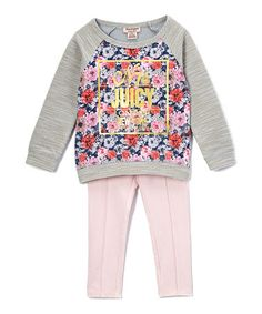 Look what I found on #zulily! Gray Floral Raglan Tunic & Leggings - Infant, Toddler & Girls #zulilyfinds