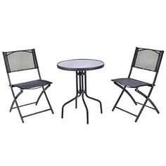 Patio Furniture Sets - Giantex 3 Pcs Bistro Set Garden Backyard Table Folding Chairs Outdoor Patio Furniture * Click image for more details. (This is an Amazon affiliate link)