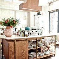 plywood hood and island kitchen