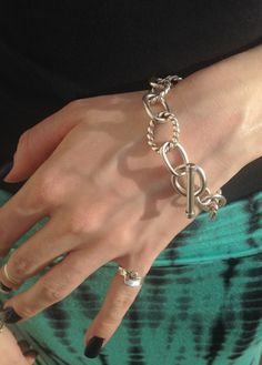 Sterling Silver Bracelet - Handmade heavy chain & toggle clasp - Great for birthdays, anniversary, Christmas and many other gift occasions 8 bracelet, SOLID sterling silver Each link of this bracelet is handmade from heavy gauge solid sterling silver. Two hidden cubic zirconias