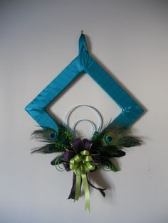 Peacock Feather Square Wreath by HandmadeByJessicaM on Etsy, $55.00