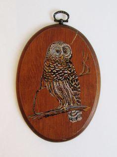 Vintage 1970's Oval Wood Owl Wall Hanging by FreshtoDeathVintage, $8.00