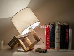 99.00$  Buy now - http://alim7w.worldwells.pw/go.php?t=32304943503 - Free Shipping Modern Wood Robot Fold Table Lamps Lights White Desk Reading Lighting