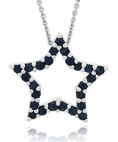 Glitzy Rocks Sterling Silver Sapphire Star Necklace