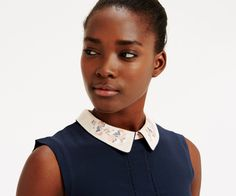 Oasis, Embroidered Collar Top Navy 4