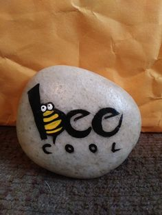 Bee cool rock painting