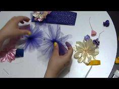 Accesorios flores grandes en cinta para el cabello. large flowers on sat...