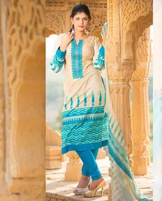 Cream and blue printed suit   1. Cream and blue cotton printed suit2. Comes with matching bottom and dupatta3.Can be stitched upto size 42 inches