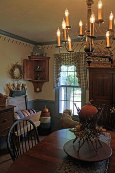 I've seen this photo before, I think in Country Sampler?? But I really like the chandelier and the beautiful stencils matching the accent color in this room.