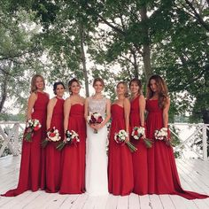 Modest Red Chiffon 2015 Bridesmaid Dress Wedding Party Dress with Pleats Four mixed styles for One Wedding Vestido