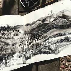 Sketchbook Drawings, Art Drawings, Sketches, Landscape Art, Landscape Paintings, Monochromatic Art, Alone Art, Art Alevel, Palette Art