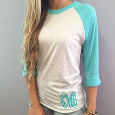Monogram Baseball Tee | Indigo, Black, Royal Blue, Turquoise | $24