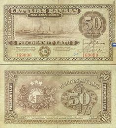 Billete de Letonia 1924 - 50 Latu // #banknote #letonia #latvia