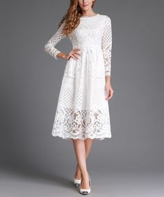 Another great find on #zulily! White Lace A-Line Dress - Plus Too #zulilyfinds