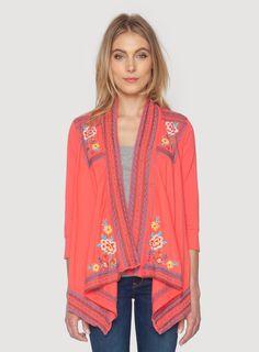 28998cefe0c95 Johnny Was Clothing JWLA embroidered Anastasia 3 4 Sleeve Wrap Jacket in  Candyland Pink Kimono