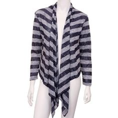 aef45c0b60 Striped Navy Blue Long Sleeve Flowing Shrug Sweater No. 1 Funwear Factory.   27.99