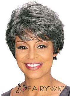 Perfect Short Wavy Gray African American Wigs for Women 8 Inch 3fc6233a80