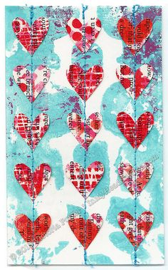 """Heart Garland"" ICAD : 7-5-13 by Vickie @ In My Head Studios, via Flickr. Gelli™ printed background with hand-cut paper hearts stitched to 3"" x 5"" index card.   The Gelli™ printed background for this one sat on my desk since the start of Index-Card-A-Day. It was too pretty to cover up with a lot of collage. Each heart is Gelli™ printed book page and was hand-cut by me."