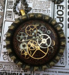 Steampunk Necklace Resin Bottle Cap Pendant Watch by BeadyEyedBeth