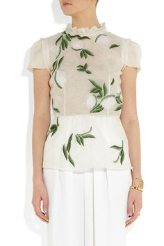 Off-white sheer silk-organza Ruffled collar, pleated cap sleeves, tonal-green embroidery, raw-edged chiffon floral appliqués Concealed zip fastening at side silk Dry clean Ruffle Collar, Ruffle Blouse, Silk Organza, Floral Chiffon, Embroidered Silk, Renta, Spring Outfits, Peplum Dress, Dresses For Work