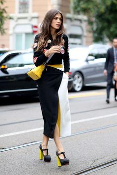 Milan Fashion Week. Elisa Sednaoui. Photo: Imaxtree