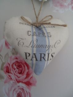 Cafe Paris French Vintage Blue Ticking Country fabric Heart Hanging jute bow