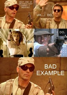 I know I've pinned this before but I still laugh every time. Oh Jack when will you learn? Haha! Stargate and Doctor Who :) Not big on Indiana Jones but that's alright.