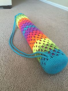 Neon crochet yoga mat bag