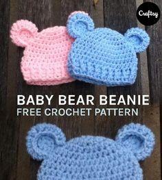 newborn baby bear beanie free crochet pattern
