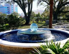 Allison Armour's now famous Aqualens Sphere Water Fountain is the perfect addition to your garden or outdoor space. View gardens with water features here. Outdoor Spaces, Outdoor Decor, In Ground Pools, Yard Ideas, Water Features, Fountain, New Homes, Landscape, Garden