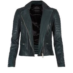 AllSaints Forest Leather Biker Jacket ($285) ❤ liked on Polyvore featuring outerwear, jackets, coats, tops, coats & jackets, bottle green, slim leather jacket, blue moto jacket, leather moto jacket and slim fit leather jacket