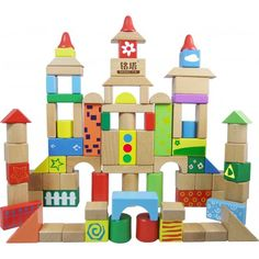 DIY Kids: Educolor Classical Wood Blocks Set (88 pcs)