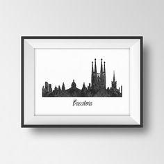 Barcelona city skyline watercolor print Barcelona by RainbowCanary