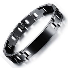Granny Chic Brand Design Fashion Health Energy Bangle Men Black Jewelry Stainless Steel Magnetic Smooth ID Cuff Bracelet Bracelets For Men, Fashion Bracelets, Bangle Bracelets, Man Bracelet, Black Stainless Steel, Stainless Steel Bracelet, Gold Finger Rings, Spanish Men, Hand Chain