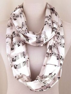 Musical Notes Infinity Scarf Black & White 20 x 60 Silk Feel Poylester 19.99