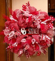University of Oklahoma mesh wreath.