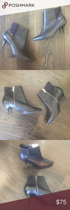 Michael Kors Black Leather Booties Michael Kors black leather & elastic Bromley booties. Interior side silver zipper. Rubber sole. Only worn twice, in excellent condition(only wear is on the bottom of the booties. Size 7.5. No box. MICHAEL Michael Kors Shoes Ankle Boots & Booties