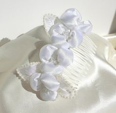 FairyLace White Satin and Pearl Floral Bridal by Donellensvintage, $25.00