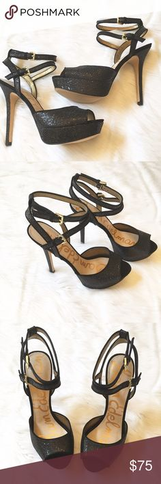 """Sam Edelman Heels This is a pair of NIB Sam Edelman Black Glitzy Heels. This is a beautiful stiletto and platform with a peep toe to give it a fashion forward finish. Features include double adjustable ankle strap with buckle closure, manmade snake embossed material and 5"""" heel with 1"""" platform. ⚜Please see my """"reasonable offers"""" listing at the top of my page before submitting an offer⚜Thank you😊 Sam Edelman Shoes Heels"""
