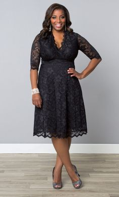 Our plus size Mademoiselle Lace Dress is the perfect little black dress for any special occasion.  Stunning scalloped lace and a classic A-line silhouette flatters every inch of you.  Find other great LBD options at www.kiyonna.com.  #KiyonnaPlusYou  #MadeintheUSA #PlusSizeSpecialOccasionDress