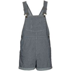 TOPSHOP MOTO Ticking Stripe Dungarees (€28) ❤ liked on Polyvore featuring jumpsuits, overalls, multi, playsuits, blue bib overalls, topshop romper, striped bib overalls, blue overalls and bib overalls