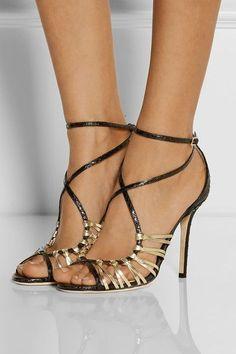 "Jimmy Choo ""Legia"" Elaphe and Metallic Leather Sandals - Stiletto models Pumps, Stilettos, Zapatos Shoes, Shoes Heels, High Heels, Sandal Heels, Cute Shoes, Me Too Shoes, Metallic Sandals"