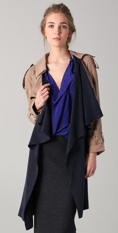 $131.60 Funktional Contrast Drape Trench (Style #:FUNKT20041)