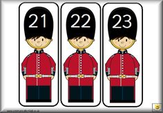 Here's a set of royal guard themed number cards from 0-50.
