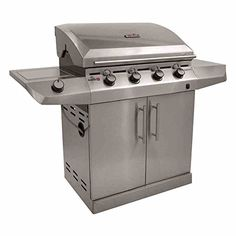 Char-Broil Performance Series T47G - 4 Burner Gas Barbecue Grill with TRU-Infrared technology and Side-Burner, Stainless Steel Finish.