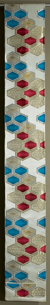 Japanese Fukuro Obi. Silk, gold and silver brocading